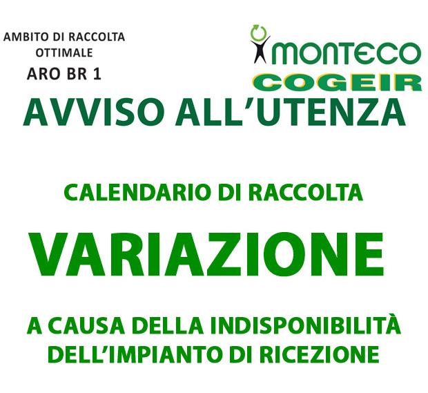 ARO BR1. Variazione del calendario di raccolta in occasione della festività del 1° Novembre