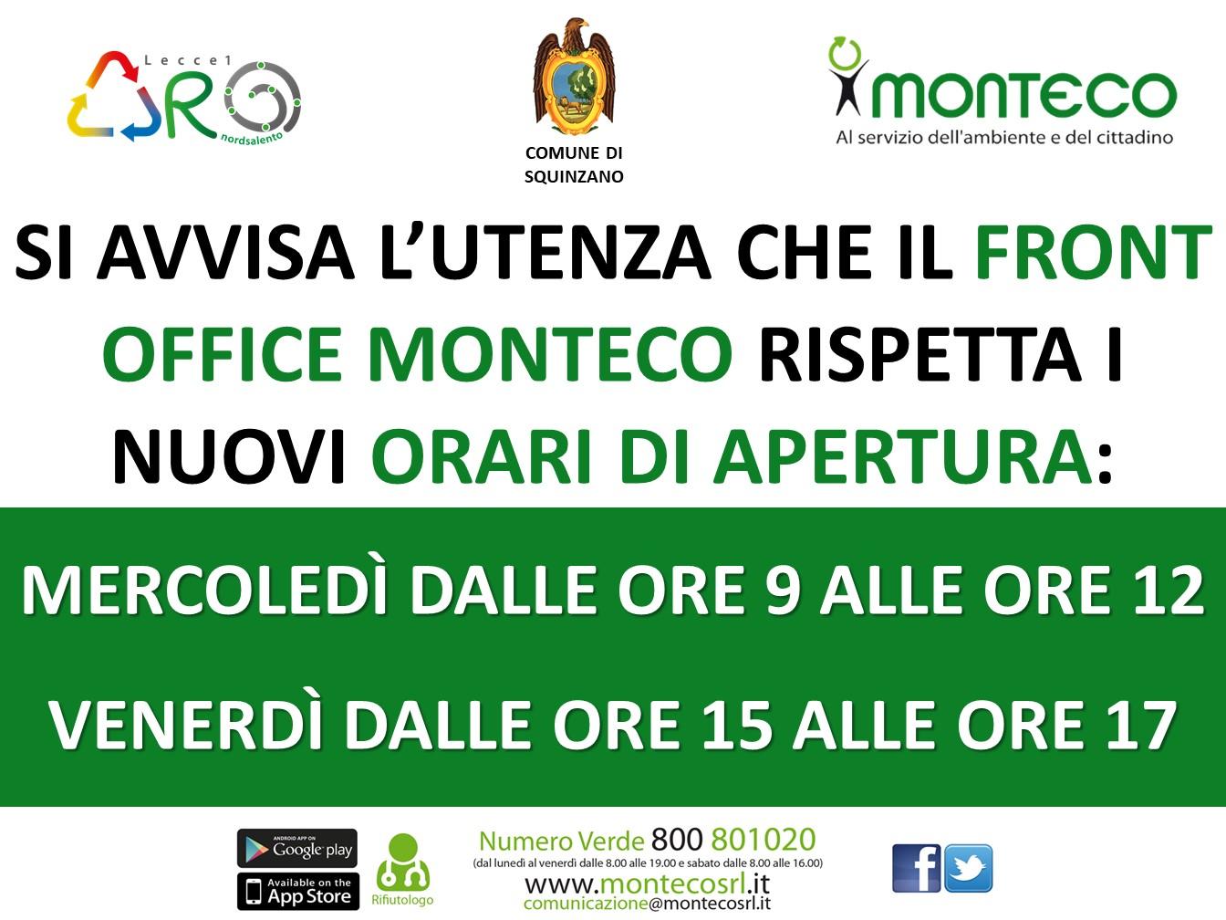 Nuovi orari Front Office Squinzano
