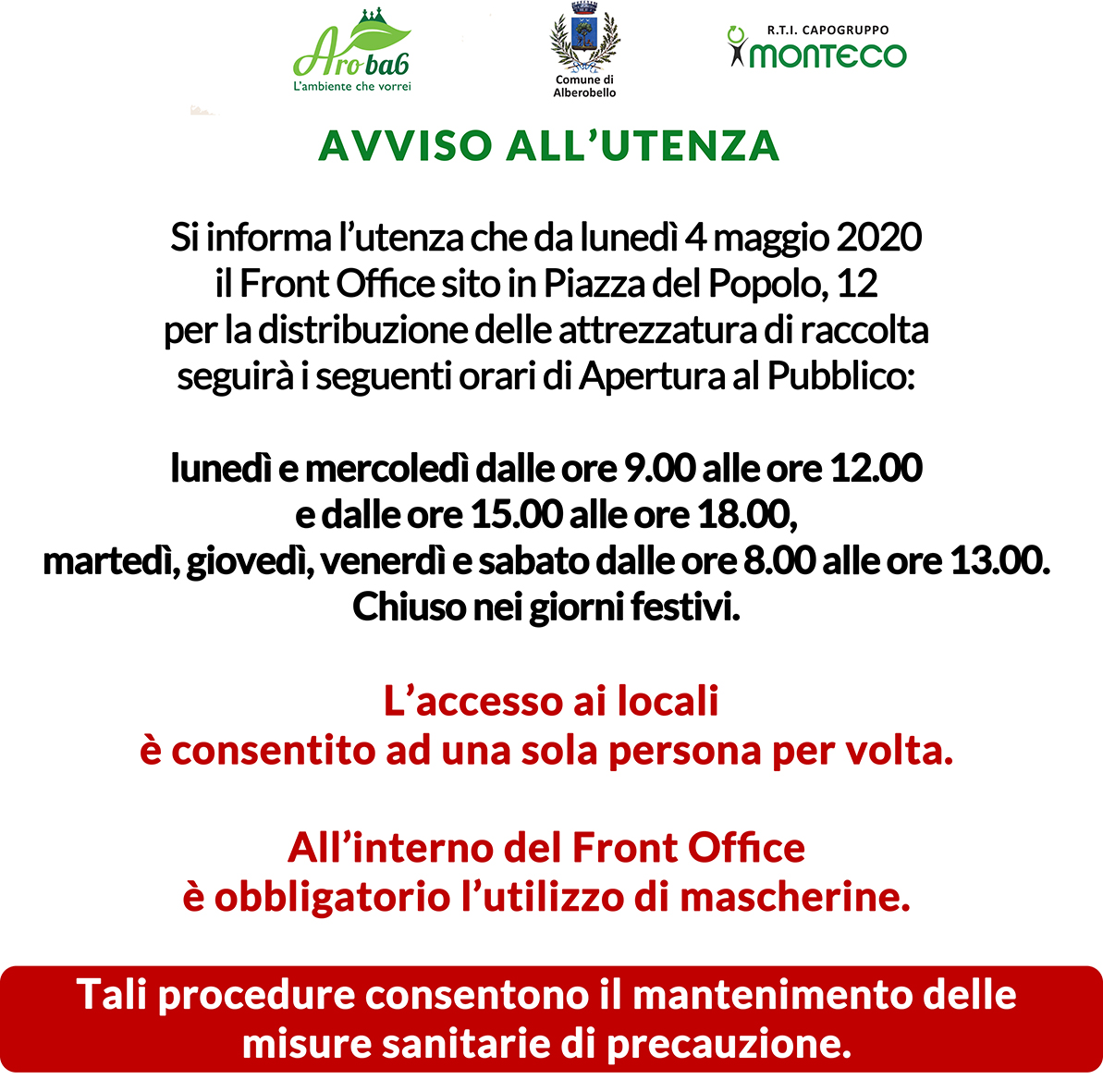 Alberobello. Riapertura Front Office per la distribuzione delle attrezzature di raccolta