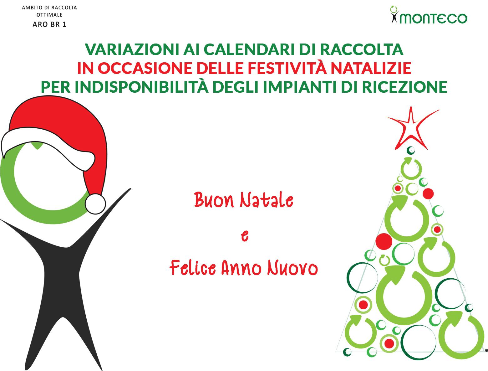 ARO BR 1. Variazione ai calendari di raccolta in occasione delle festività natalizie
