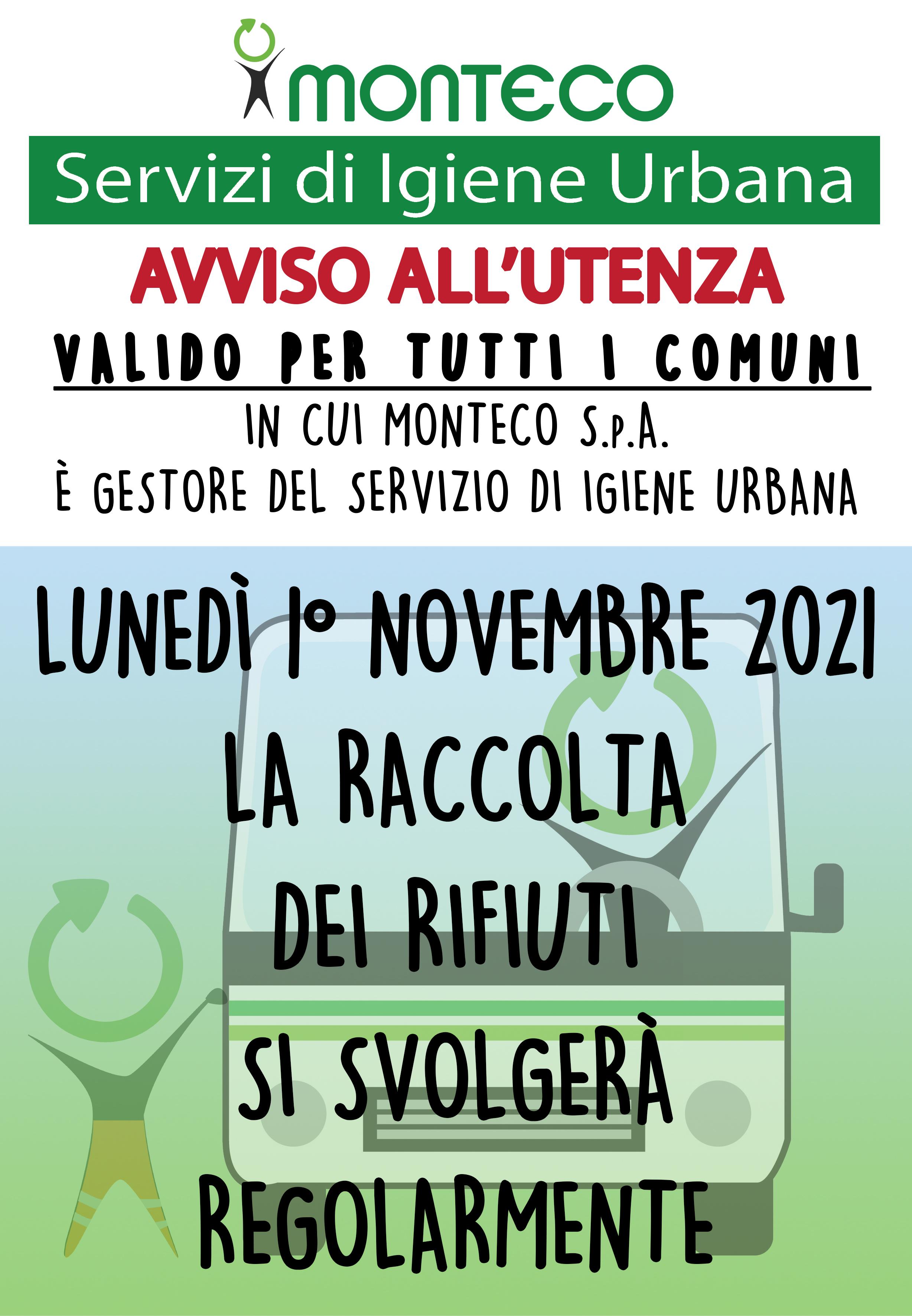 Monteco informa: 1° Novembre 2021 raccolta regolare