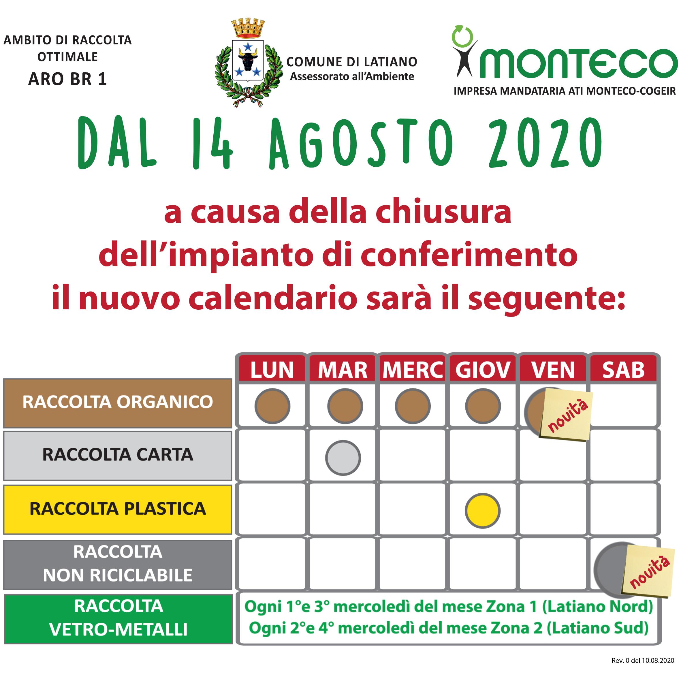 Latiano. Dal 14 agosto 2020 variazione al calendario di raccolta